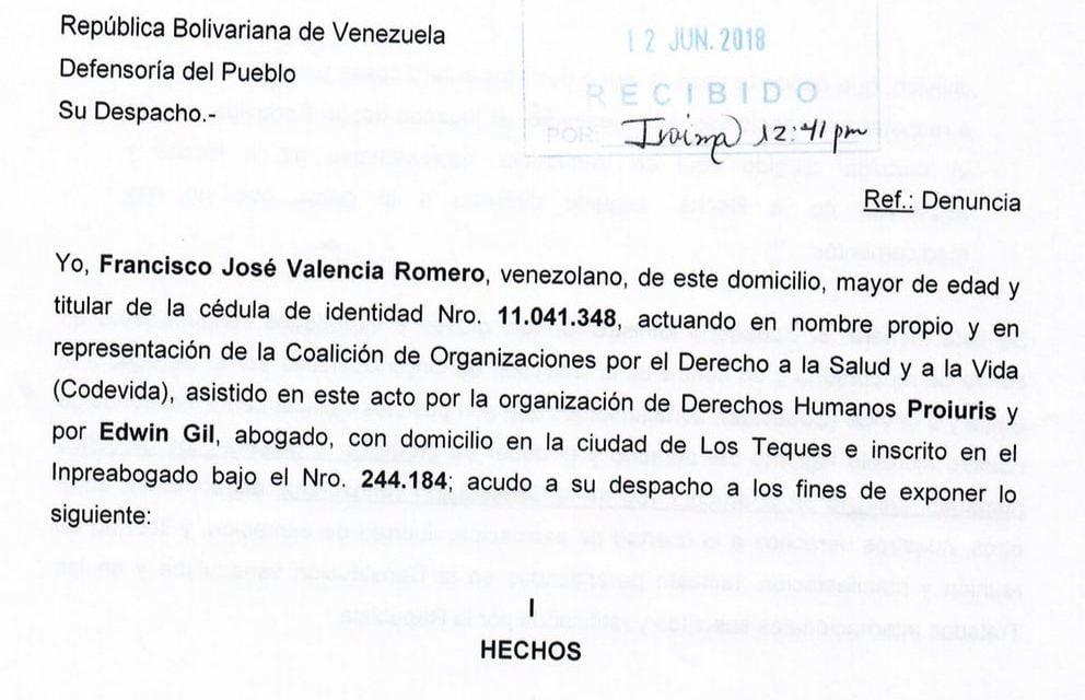 Denunciamos ante la Fiscalía y la Defensoría las falsa acusaciones de López en contra de Valencia