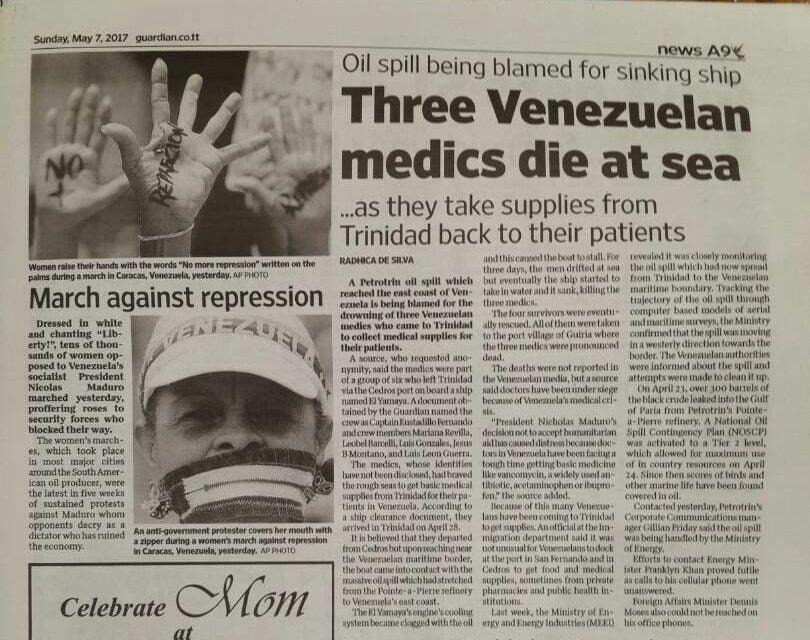 Tres médicos venezolanos que traían medicinas desde Trinidad y Tobago murieron en altamar